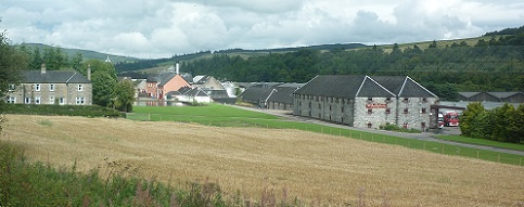 The eclectic Balvenie site, as viewed from the Spirit of Speyside carriage on the Keith-Dufftown Railway.