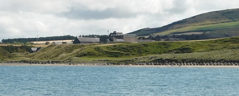 The distillery from the north, over the Moray Firth. Quite a setting.